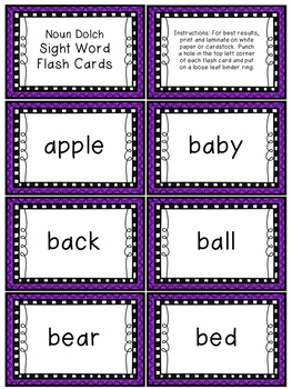 Nouns Dolch Sight Word Resource Pack