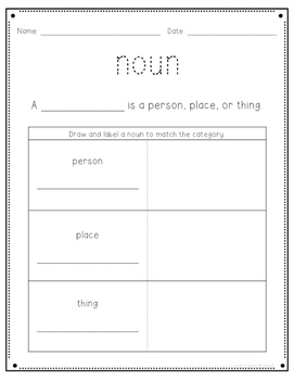 Parts of Speech - Nouns Freebie