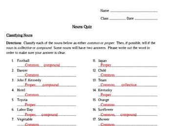 Nouns Grammar Unit Bundle - PowerPoint, Worksheets, Quiz, Answer Keys