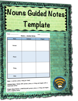 Nouns Guided Notes Graphic Organizer Template