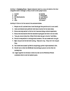 Noun Worksheet - Use Your Students' Names in Funny Sentences