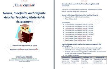 Nouns, Indefinite and Definite Articles Teaching Material & Assessment