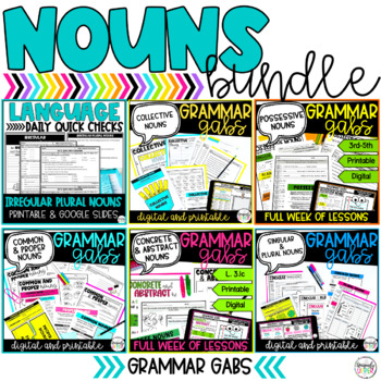 Nouns: Language Skills Daily Quick Check Bundle