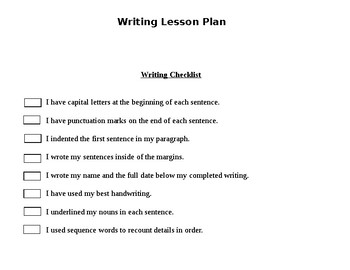 Nouns Lesson Plan with Narrative Writing