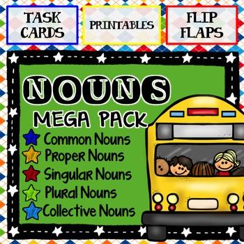 Nouns Mega Pack:  Task Cards, Printables, and Flip Flaps