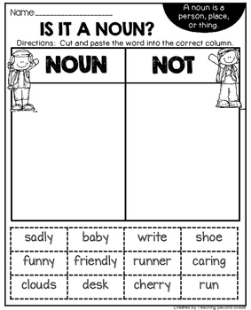 Noun Worksheets for First Grade