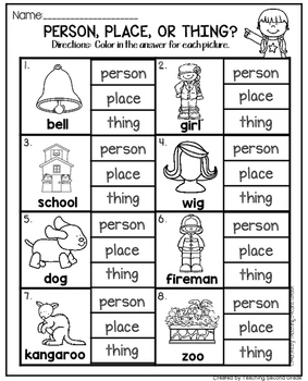 nouns worksheets for first grade by teaching second grade tpt. Black Bedroom Furniture Sets. Home Design Ideas