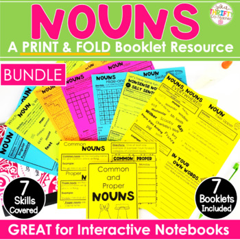 "Nouns ""No Cut"" Interactive Notebook: Common, Proper, Plural, Irregular Bundle"