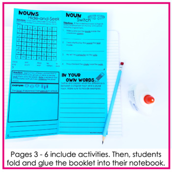 Singular Nouns & Plural Nouns Fold and Go No Cut Interactive Notebook