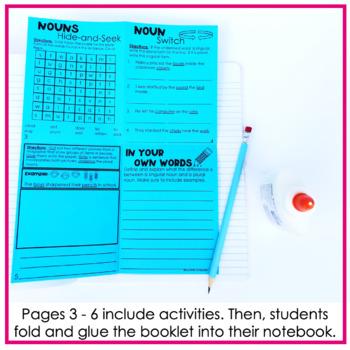 Singular Nouns & Plural Nouns No Cut Print & Fold Interactive Notebook Mini Book