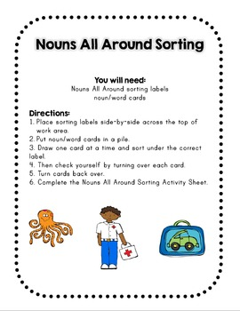 Nouns - Nouns All Around: Exploring Nouns - Learning Centers/Games