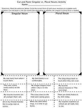 Nouns Pack (Singular/Plural (irregular and regular), Proper/Common)