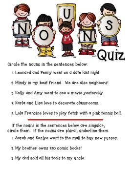Nouns Packet with Quiz