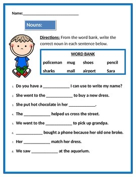 Nouns: People, Places, Things & Animals.  Fill in the blank using a word bank.