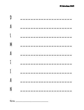 Nouns Per Letter- Dalmatian