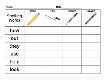 Spelling Practice - Write It - Pen, Pencil, Marker, Crayon
