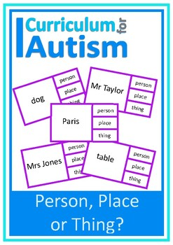 Nouns Person Place Thing Autism Speech Literacy ESL
