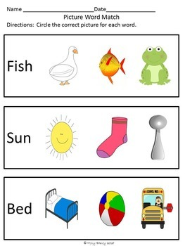 Picture Word Match for Special Education, Autism or Early Childhood - Set 1