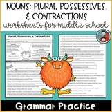 Nouns: Plurals, Possessives, and Contractions Worksheets