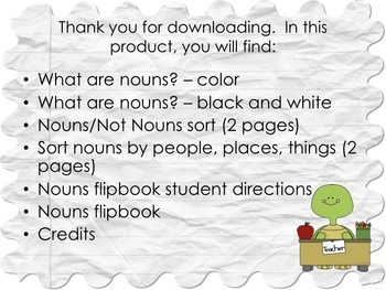 Nouns - Poster, Sorts (Nouns/Not Nouns & People/Places/Things) and Flipbook
