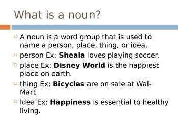 Nouns PowerPoint- EDITABLE