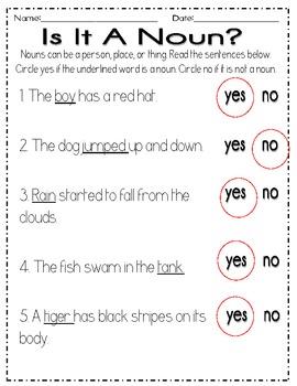 Nouns Practice Pack Freebie