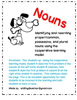 Nouns: Practice Packet Using the Cooperative Learning Model