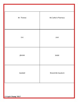 Nouns - Pre-Assessment/Assessment & Activities