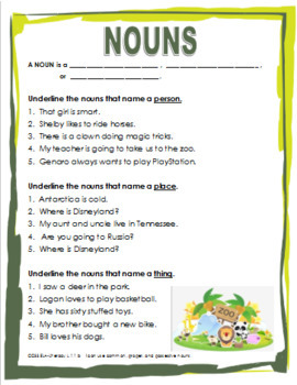 Nouns Worksheet and PowerPoint Set - No Prep