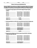 Nouns, Pronouns, & Adjectives Test or Worksheet