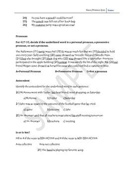 Nouns, Pronouns, Gerunds, Appositives Test