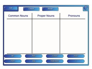 Nouns, Pronouns, Proper Nouns PowerPoint with a SmartBoard sort Common Core