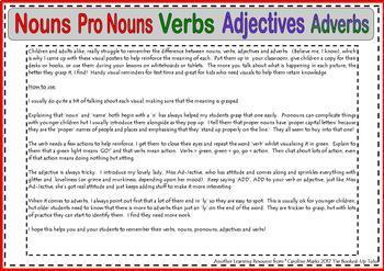 Nouns, Pronouns, Verbs, Adverbs and Adjectives VISUAL LEAR