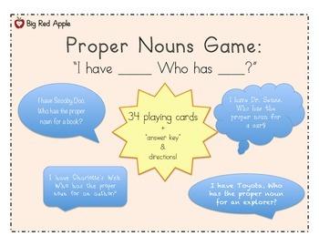 Nouns: Proper Nouns Game: I Have, Who Has