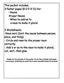 Nouns, Proper Nouns, Plural Nouns Poster and Worksheets