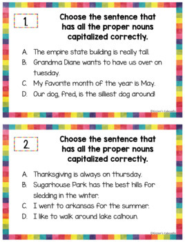 Common and Proper Nouns Task Cards and Anchor Charts
