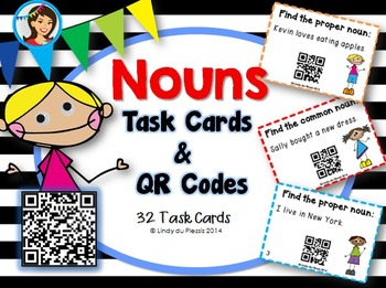 Nouns Task Cards with QR Codes