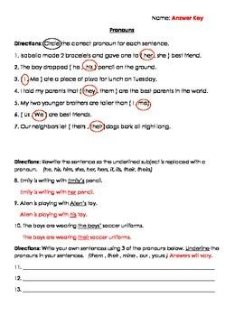 Nouns: Pronouns Quiz/ Test/ Worksheet