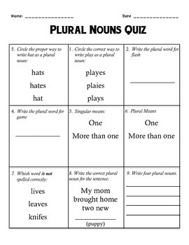 Nouns Quiz Week 2: Plural Nouns