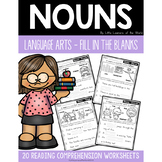 Nouns Reading Comprehension - Fill in the Blanks Sentences Grammar Worksheets