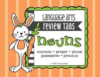 Nouns - Review Tabs (common, proper, plural, possessive, pronoun)