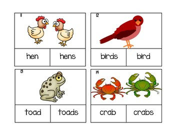 Nouns SINGULAR OR PLURAL Task Cards - Colorful & Engaging Clip Cards