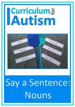 Nouns, Say A Sentence, Autism, Special Education, Speech, ESL