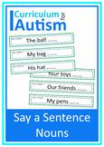 Nouns Sentences Autism Special Education Speech ESL