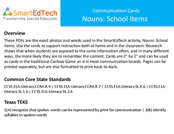 Nouns School Items - SmartEdTech Communication Cards