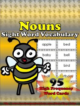 Nouns Sight Word Vocabulary - 95 High Frequency Word Cards - King Virtue