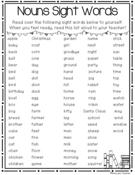 Nouns Sight Words Assessments and Parental Support Helpers
