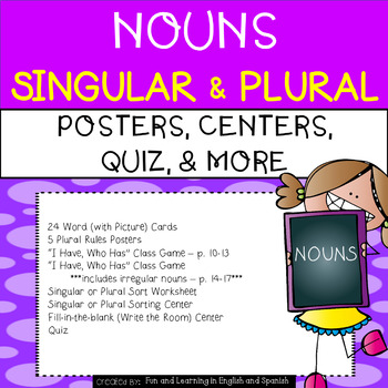 Nouns - Singular and Plural UNIT - Word Cards, Centers, Qu