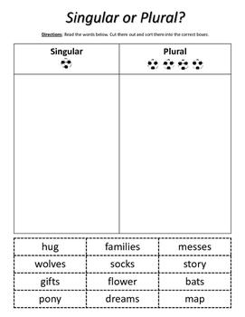 Nouns: Singular or Plural? Cut & Paste
