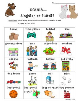 Nouns--Singular or Plural? Sorting Worksheet